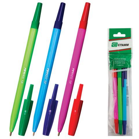 Ручки шариковые СТАММ, НАБОР 3шт, 049, корпус ассорти, узел 1,2мм, линия 0,7мм, (син,крас,зел), РШ06  Код: 141905