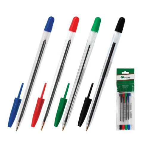 Ручки шариковые СТАММ, НАБОР 4шт, 111, корпус прозрачный, 1,2мм, линия 1мм, (син,черн,крас,зел),РС07  Код: 141906