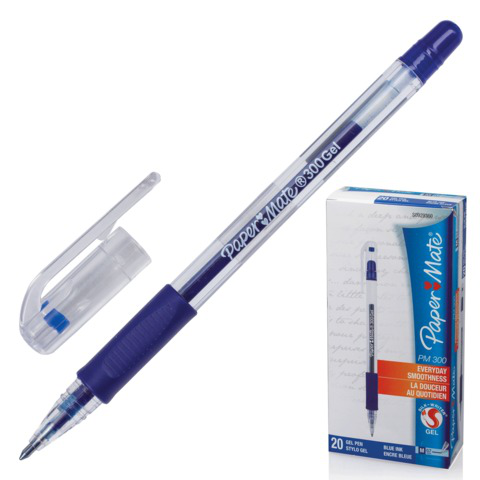 Ручка гелевая PAPER MATE PM 300, корпус прозрачный, узел 1мм, линия 0,7мм, синяя, S0929360  Код: 141932
