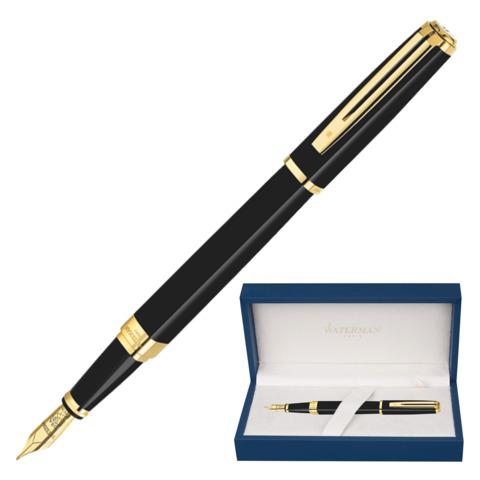 Ручка подарочная перьевая WATERMAN Exception Black GT Slim, черный лак, позолоч.дет, синяя, S0636930  Код: 141950