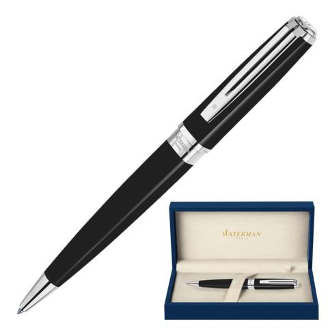 Ручка подарочная шариковая WATERMAN Exception Black ST Slim, черный лак, посеребр.дет,синий, S0637040  Код: 141953