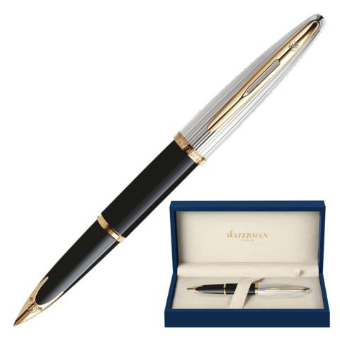 Ручка подарочная перьевая WATERMAN Carene Deluxe GT, черный лак, позолоч. детали, синяя, S0699920  Код: 141954