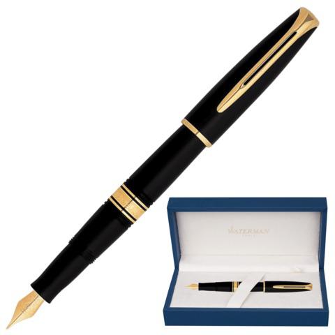 Ручка подарочная перьевая WATERMAN Charleston Ebony Black GT, черн.корп, позолоч.дет,синий, S0700980  Код: 141960