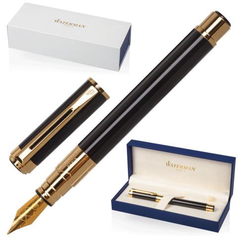 Ручка подарочная перьевая WATERMAN Perspective Black GT, черный лак, позолоч.детали, синяя, S0830800  Код: 141964