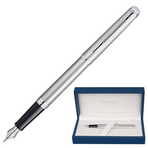 Ручка подарочная перьевая WATERMAN Hemisphere Stainless Steel CT, серебрист, хром.дет,синий, S0920410  Код: 141967