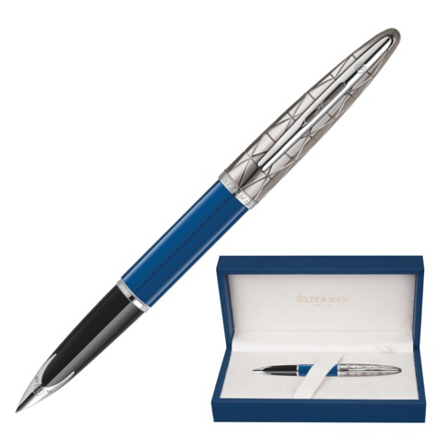 Ручка подарочная перьевая WATERMAN Carene Contemporary Blue and Gunmetal ST,посеребр.дет,син,1904558  Код: 141976