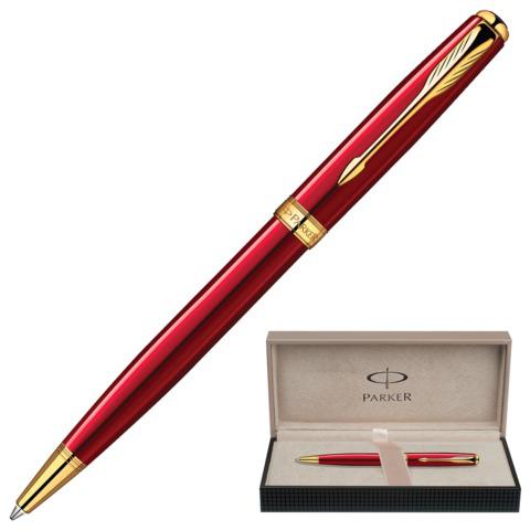 Ручка подарочная шариковая PARKER Sonnet Lacquer Red GT, красный глянц.лак, позол.дет, черн, 1859472  Код: 141981