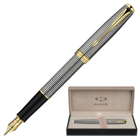 Ручка подарочная перьевая PARKER Sonnet Sterling Silver Chiselled GT, серебр, позол.дет,чер,S0808140  Код: 141994