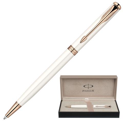 Ручка подарочная шариковая PARKER Sonnet Pearl Lacquer PGT Slim, тонкая, жемч.лак,позол,чер,S0947400  Код: 142032