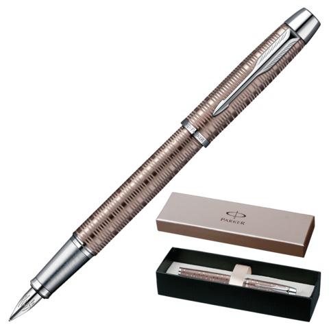Ручка подарочная перьевая PARKER IM Premium Vacumatic Brown Shadow CT, коричн., гравир,синий, 1906777  Код: 142049