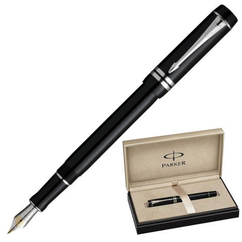 Ручка подарочная перьевая PARKER Duofold International Black PT, платин.покрыт.дет, черная, S0690560  Код: 142059
