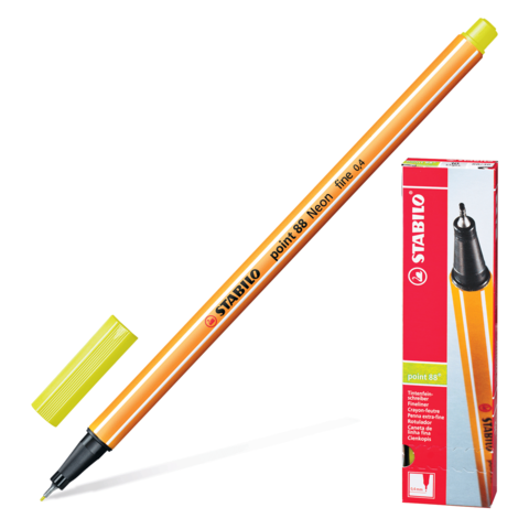 Ручка капиллярная STABILO Point, корпус оранжевый, толщина письма 0,4мм, НЕОН желтая, 88/024  Код: 142078