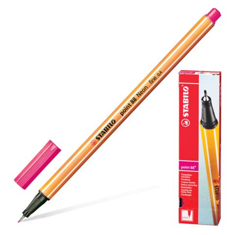 Ручка капиллярная STABILO Point, корпус оранжевый, толщина письма 0,4мм, НЕОН розовая, 88/056  Код: 142082