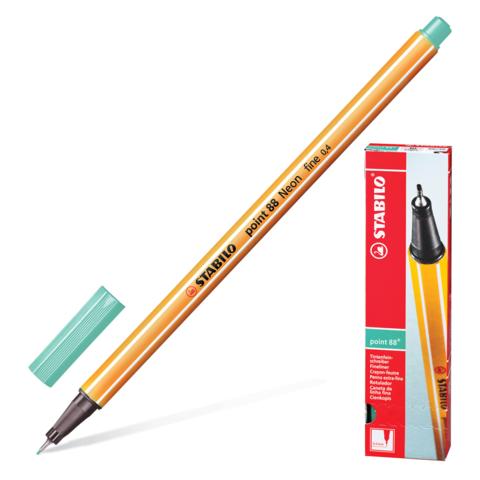 Ручка капиллярная STABILO Point, корпус оранжевый, толщина письма 0,4мм, зеленый лед, 88/13  Код: 142083