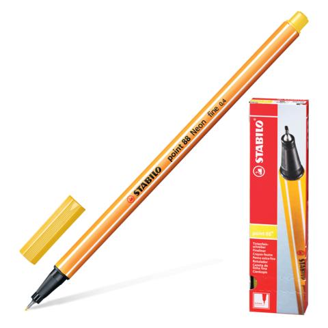 Ручка капиллярная STABILO Point, корпус оранжевый, толщина письма 0,4мм, желтая, 88/44  Код: 142089