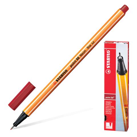Ручка капиллярная STABILO Point, корпус оранжевый, толщина письма 0,4мм, темно-красная, 88/50  Код: 142091