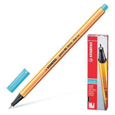 Ручка капиллярная STABILO Point, корпус оранжевый, толщина письма 0,4мм, небесная лазурь, 88/57  Код: 142095