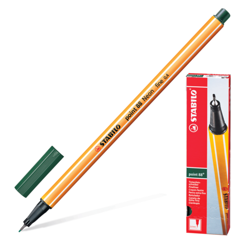 Ручка капиллярная STABILO Point, корпус оранжевый, толщина письма 0,4мм, цвет травы, 88/63  Код: 142097