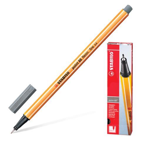Ручка капиллярная STABILO Point, корпус оранжевый, толщина письма 0,4мм, темно-серая, 88/96  Код: 142100