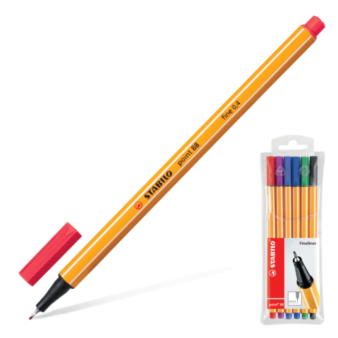 Ручки капиллярные STABILO, НАБОР 6шт, Point, 0,4мм, (голуб, красн,синий, черн, фиол, сирен), 88/6  Код: 142101