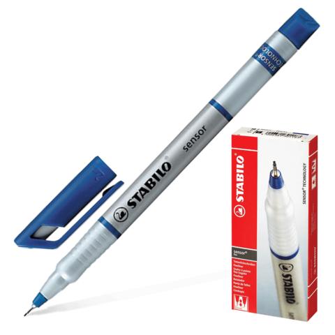 Ручка капиллярная STABILO Sensor, корпус серебристый, толщина письма 0,3мм, синяя, 189/41  Код: 142103