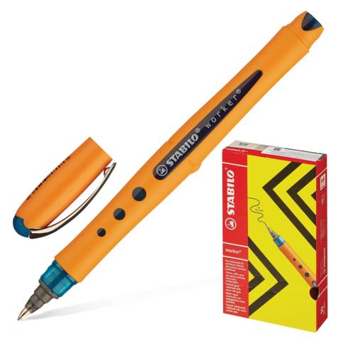 Ручка-роллер STABILO Worker, оранжевый корпус soft-touch, узел 0,7мм, линия 0,5мм, синяя, 2018/41  Код: 142106