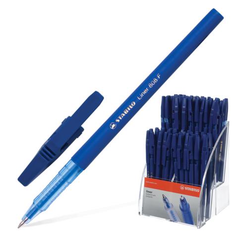 Ручка шариковая STABILO Liner, корпус синий, узел 0,7мм, линия 0,3мм, дисплей, синяя, 808/80/41  Код: 142110