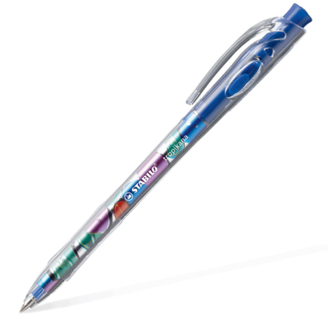 Ручка шариковая автомат. STABILO Tropikana, корпус ассорти, узел 0,7мм, линия 0,38мм, синяя, 338/41F  Код: 142116
