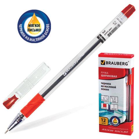 Ручка шариковая масляная с грипом BRAUBERG (Брауберг) Max-Oil, игольч.узел 0,7мм, линия 0,35мм, красная, 142143  Код: 142143