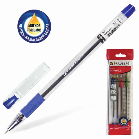 Ручки шариковые масляные BRAUBERG, НАБОР 4шт, Max-Oil, 0,7мм, линия 0,35мм, (зелёная, чёрная, красная, синяя), 142146  Код: 142146
