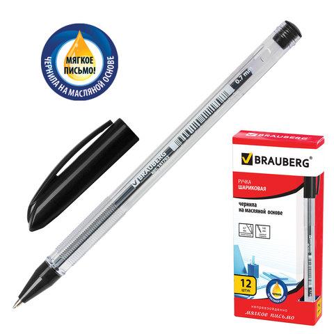 Ручка шариковая масляная BRAUBERG (Брауберг) Rite-Oil, корпус прозрачный, 0,7мм, линия 0,35мм, черная, 142147  Код: 142147
