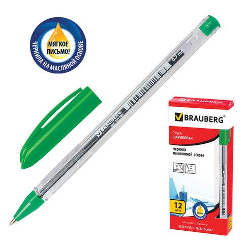 Ручка шариковая масляная BRAUBERG (Брауберг) Rite-Oil, корпус прозрачный, 0,7мм, линия 0,35мм, зеленая, 142149  Код: 142149
