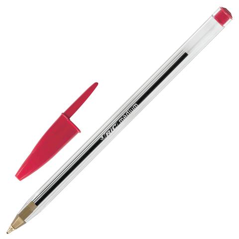 Ручка шариковая BIC Cristal, корпус прозрачный, узел 1мм, линия 0,4мм, красная, 847899  Код: 142153