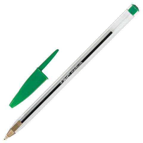 Ручка шариковая BIC Cristal, корпус прозрачный, узел 1мм, линия 0,32мм, зеленая, 875976  Код: 142154