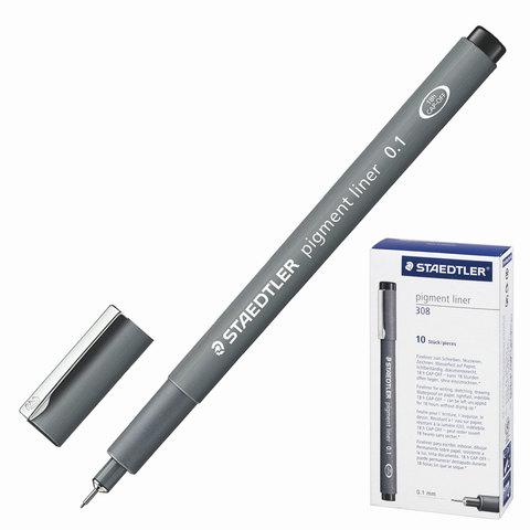 Ручка капиллярная STAEDTLER PIGMENT LINER, корпус серый, толщина письма 0,1мм, черная, 308 01-9  Код: 142174