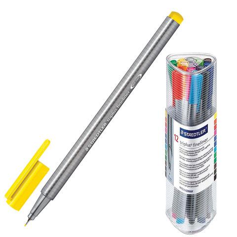 Ручки капиллярные STAEDTLER TRIPLUS FINELINER, НАБОР 12шт, трехгранные, линия 0,3мм, ассорти,334PR12  Код: 142184