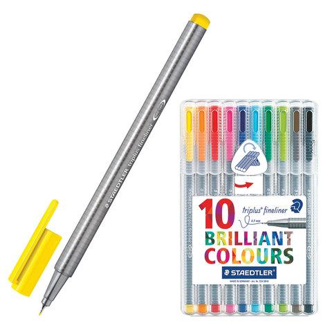 Ручки капиллярные STAEDTLER TRIPLUS FINELINER, НАБОР 10шт, трехгранные, линия 0,3мм, ассорти,334SB10  Код: 142185