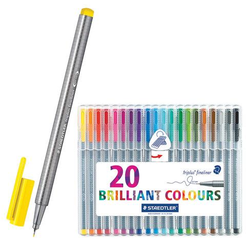 Ручки капиллярные STAEDTLER TRIPLUS FINELINER, НАБОР 20шт, трехгранные, линия 0,3мм, ассорти,334SB20  Код: 142186