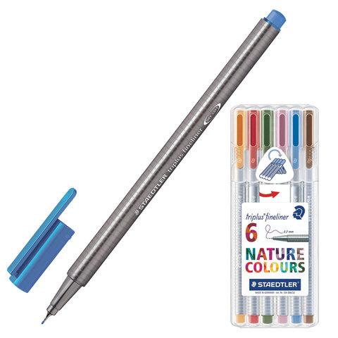 Ручки капиллярные STAEDTLER TRIPLUS FINELINER, НАБОР 6шт, линия 0,3мм, природные цвета, 334SB6CS2  Код: 142188
