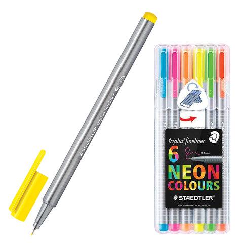 Ручки капиллярные STAEDTLER TRIPLUS FINELINER, НАБОР 6шт, линия 0,3мм, неоновые цвета, 334SB6CS3  Код: 142189