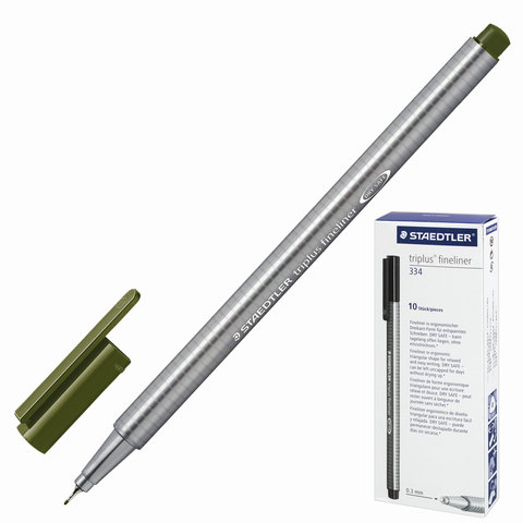 Ручка капиллярная STAEDTLER TRIPLUS FINELINER, трехгранная, толщина письма 0,3мм, зеленая, 334-5  Код: 142203
