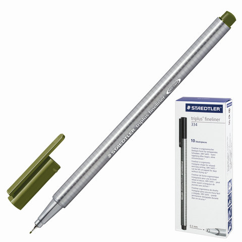 Ручка капиллярная STAEDTLER TRIPLUS FINELINER, трехгранная, толщина письма 0,3мм, оливковая,334-57  Код: 142208