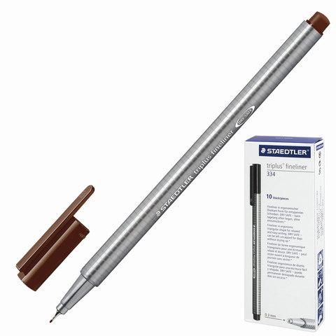 Ручка капиллярная STAEDTLER TRIPLUS FINELINER, трехгранная, толщина письма 0,3мм, коричневая, 334-76  Код: 142215