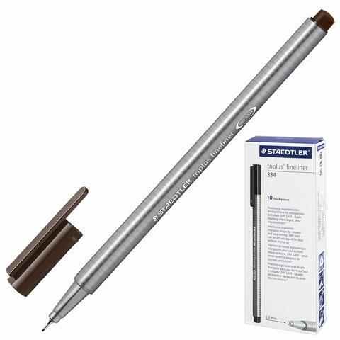Ручка капиллярная STAEDTLER TRIPLUS FINELINER, трехгранная, толщина письма 0,3мм, табак, 334-77  Код: 142216