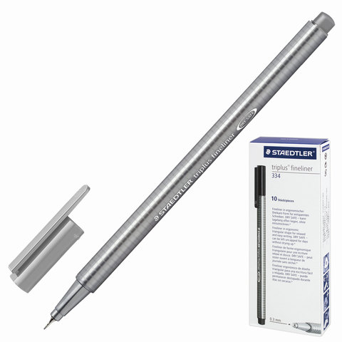 Ручка капиллярная STAEDTLER TRIPLUS FINELINER, трехгранная, толщина письма 0,3мм, серая, 334-8  Код: 142217