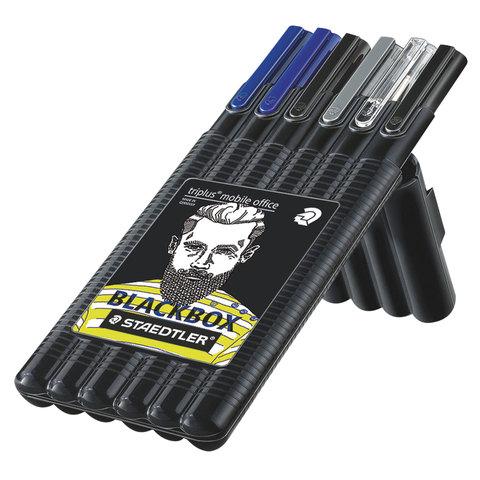 Набор STAEDTLER, ручки капиллярные 2шт, ручка шар., ручка-роллер, карандаш мех., текстмаркер, 34SB6B  Код: 142219