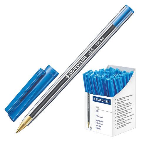 Ручка шариковая STAEDTLER (Германия) Stick, корпус прозрачный, 1мм, линия 0,35мм, синяя, 430 M-3  Код: 142223