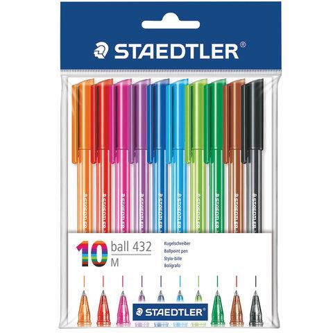 Ручки шариковые STAEDTLER, НАБОР 10шт, Ball, трехгранные, узел 1мм, линия 0,5мм, ассорти, 43235MPB10  Код: 142229