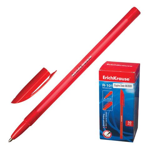 Ручка шариковая ERICH KRAUSE R-101, корпус тонированный красный, 1мм, линия 0,5 мм, красная, 33513  Код: 142272
