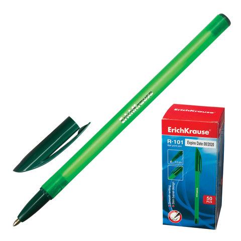 Ручка шариковая ERICH KRAUSE R-101, корпус тонированный зеленый, 1мм, линия 0,5 мм, зеленая, 33514  Код: 142273